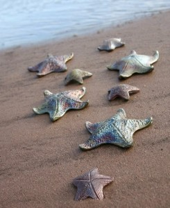 Raku Pottery Clay Starfish at water by Wildfire Pottery Sarah Beck