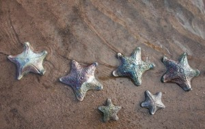 Raku Pottery Clay Starfish on Beach by Wildfire Pottery Sarah Beck