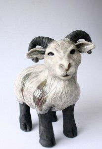 Raku Pottery Sheep by  Sarah Beck  Wildfire Pottery