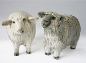 Raku Pottery Clay Sheep by Wildfire Pottery Sarah Beck