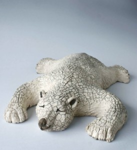 Raku Pottery Clay Sleeping Polar Bear by Wildfire Pottery Sarah Beck