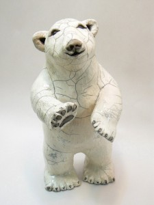 Raku Pottery clay Polar Bear by Wildfire Pottery Sarah Beck