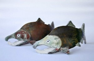 Raku Salmon by Wildfire Pottery Sarah Beck
